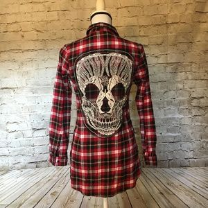 RED Late for Dinner Plaid Flannel With skull